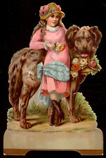 KAZINE SOAP TRADE CARD, LARGE DIE CUT, VICTORIAN GIRL with HER LARGE DOG   C119