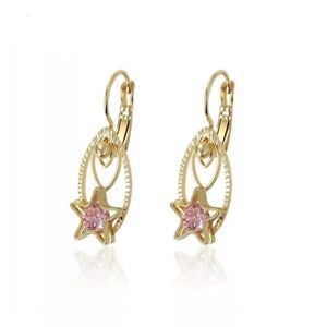 Exquisite gold plated oval star shape pink cubic zirconia dangle earrings