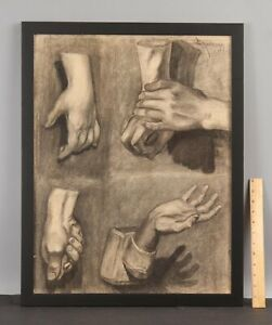 Antique 1927 ELANOR COLBURN Charcoal Drawing, Human Hand Figure Study Sketch
