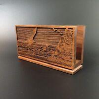 Vintage Engraved Walnut Wood Letter Napkin Holder Seagull Mountain Ocean Scene