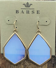 Barse Opal Glass Hexagonal Earrings- Bronze- New With Tags