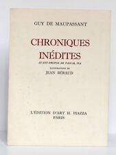 Chroniques inédites, MAUPASSANT. Illustr. Jean BÉRAUD. Édition d'Art Piazza 1970
