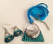 Ladies/Girls Turquoise Handbag Gemstone Dangle Necklace Pendant & Earring Set