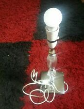 """Table Lamp Base Antique Brass Crystal Glass & Silver Metal 14"""""""