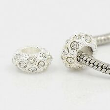 100pcs Silver Large Hole Rondelle Alloy Rhinestone European Beads DIY Findings