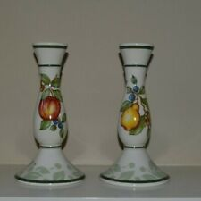 "Set Of Two Matching Partylite Fruit Ceramic Candle Stick Holders 7"" Htf Pattern"