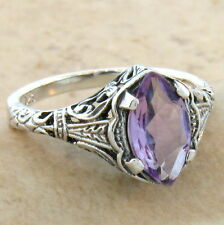 GENUINE BRAZIL AMETHYST 925 STERLING SILVER ANTIQUE DESIGN RING SIZE 10,  #672