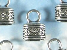 6 Cord Tips Celtic Heart End Caps Silver Tone Kumihimo Tube Glue In #P1490