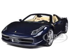 2012 2013 FERRARI 458 ITALIA SPIDER DARK BLUE METALLIC 1/18 BY HOTWHEELS X5529