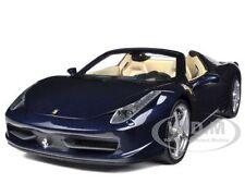 2012 2013 FERRARI 458 ITALIA SPIDER DARK BLUE METALLIC 1/18 BY HOTWHEELS X5529
