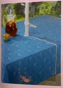 Umbrella Tablecloth w/ zipper for pole 52 x 70 inch Blue with Fish design patio
