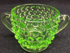Green Vaseline glass Hobnail pattern dish uranium coffee sugar bowl holder neon