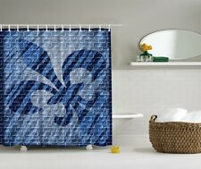fleur-de-lis Blue Digital Print Shower Curtain French Lily Heraldry Bath Curtain