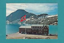NORWAY DJUPVASSHYTTA VINTAGE POSTCARD  FLAG  REAL PHOTO