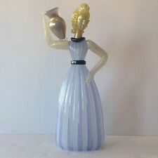 Murano E. Barovier Glass Woman holding amphora Ribbed opaline w Aventurine