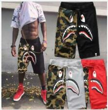 Men's Bape A Bathing Ape Shark Head Shorts Camo Sweatshorts Beach Short Pants