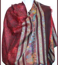 Pashmina Silk Blend Shawl, Stole,Wrap Elephant Design Maroon Red Color India