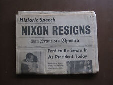 complete San Francisco Chronicle Nixon Resigns August 9th, 1974 Arnold Palmer 9