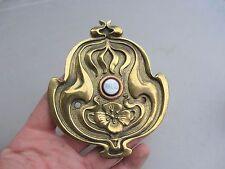 """Art Nouveau Brass Door Bell porcelain """"PRESS"""" Button Architectural Antique Old"""