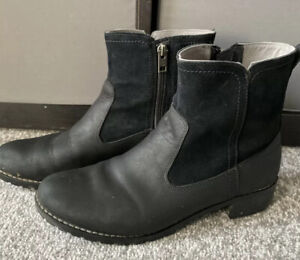 Timberland Womens Black Two Tone Leather Suede Pull On Chelsea Boots Size 6 6.5
