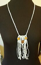 "Vintage Handmade 14"" MACRAME NECKLACE w/Wood Beads Drops to 20"" - Awesome Mod!"