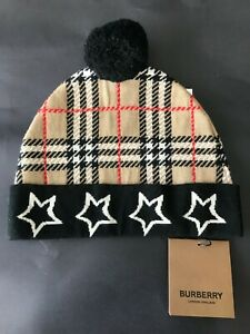 NWT and Authentic Burberry Kid's Check & Stars Knit Beanie Hat size L