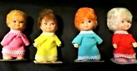 "4 Vintage Dolls 3"" Synthetic Hair Brunette RedheadBlonde White Plastic Body Face"