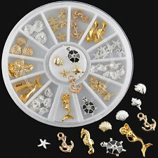Gold Silver Metal Nail Art Tip Decoration Anchors Turtle Starfish Seahorse Wheel