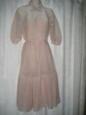 "Vtg 1940's Pink Nylon Sheer Pin Tucked Fit Flare Dress W/ Metal Zip 13"" Hem Sm"