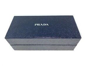 $PRADA Eyewear Case Only Faux Leather Small Eyeglasses Hardcase W Box Lens Cloth
