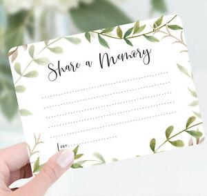 Share a Memory Cards, Celebration of Life Memory Cards, Memorial Service Cards