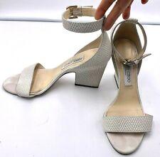 Jimmy Choo Edina White Ankle Strap Sandals Size 38 1/2