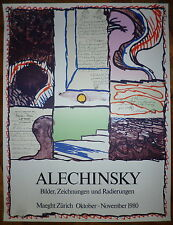 Alechinsky Pierre Affiche originale 1980 abstraction cobra art abstrait Zurich