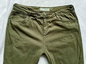 Topshop Ladies Jeans Size 14 L W34 L34 L30 super skinny Jamie KHAKI knee slits