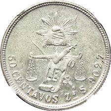 Mexico 50 Centavos Zs 1878 S Zacatecas, Balance/Scale. NGC AU58. KM# 407.8