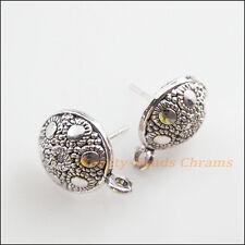 6Pcs Tibetan Silver Tone Round Flower Wire Earrings Hooks Findings 12.5mm