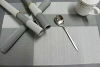 Set of 6 PVC Place Mats Woven Kitchen Dining Table Mat Non-Slip Washable Gray