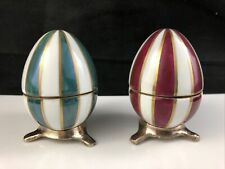 New Listing🟩 Set of 2 Chamart Limoges Peint Main Gold Green & Red Stripe Egg Box w/ Stand