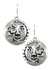 Dangle Sun and Moon Earrings Silver Pewter Tone Celestial Design Fashion Jewelry