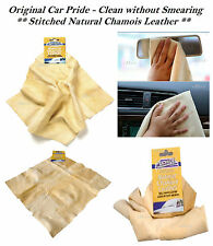 NEW NATURAL GENUINE REAL LEATHER CAR CHAMOIS DRYING SHAMMY CHAMMY CLEANING CLOTH