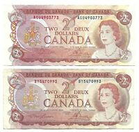 Canada $2 (1974 ) X 2 Circulated Notes - 2 Different Signature Sets