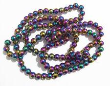 1filo/ 72 pz  perline pietre ematite rotondo 6mm colore arcobaleno