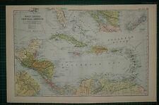 1905 ANTIQUE MAP ~ WEST INDIES & CENTRAL AMERICA HAITI CUBA PANAMA BERMUDA