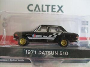MINIATURE 1/64  3 INCHIES GREENLIGHT DATSUN 510 PUB CALTEX WITH TECHRON 1971