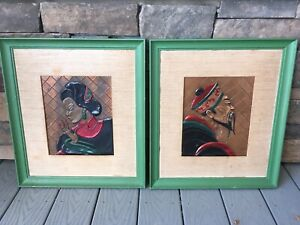 Coppercraft Of Hollywood Vtg 40s Hand Painted Oriental Framed Raised Relief Art
