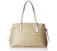 Coach Signature PVC Drawstring Carryall Shoulder Bag Handbag F57842 Khaki/Chalk