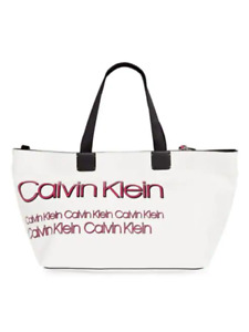 Calvin Klein Celia Vegan Leather Water Resistent Large Tote White & Pink