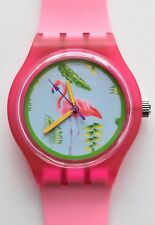 Retro 80s designer watch - Pink Flamingos watch