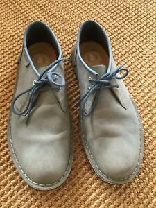 CLARKS JINK Faded Denim Blue Leather LACE UP US 8.5M