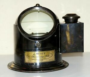 Antique brass ships binnacle compass nautical maritime gimbelled with oil lamp